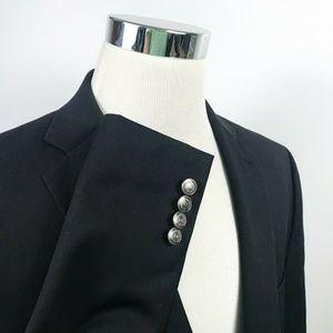 Chaps Mens 46R Blazer Wool Blend Black Silver